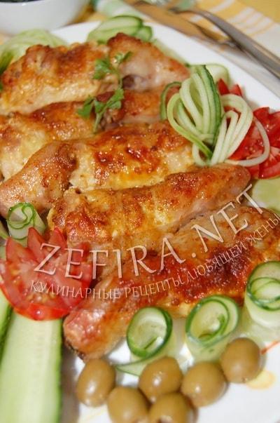 Фаршированные сыром куриные ножки - рецепт и фото