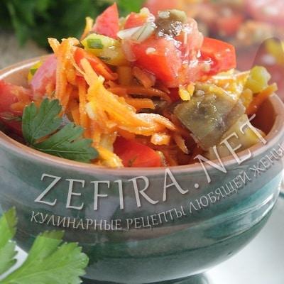 рецепт салата из баклажанов с овощами