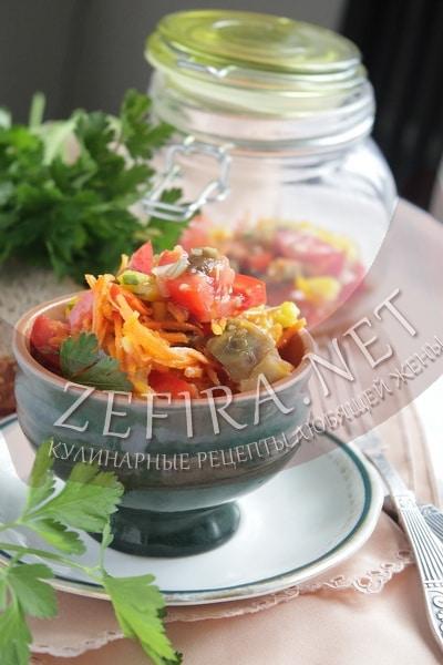 Cалат из баклажанов с овощами и корейской морковью - рецепт и фото
