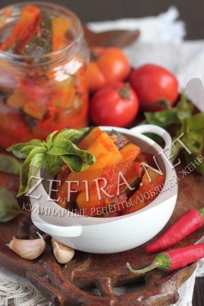 Салат из кабачков с помидорами и перцем на зиму - рецепт с фото