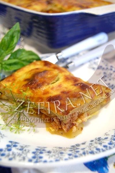 Слоеная запеканка из кабачков с фаршем и картофелем - рецепт и фото