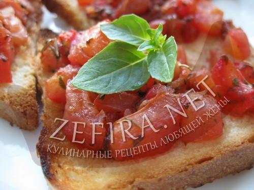 Брускетта с помидорами и базиликом - рецепт и фото
