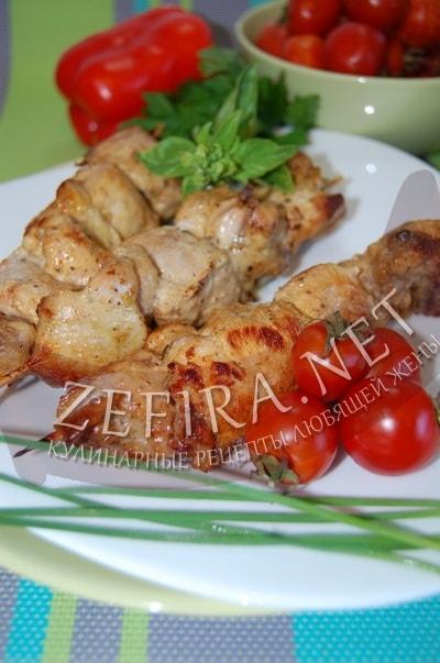 Куриные шашлычки в соевом соусе на шпажках в духовке - рецепт и фото