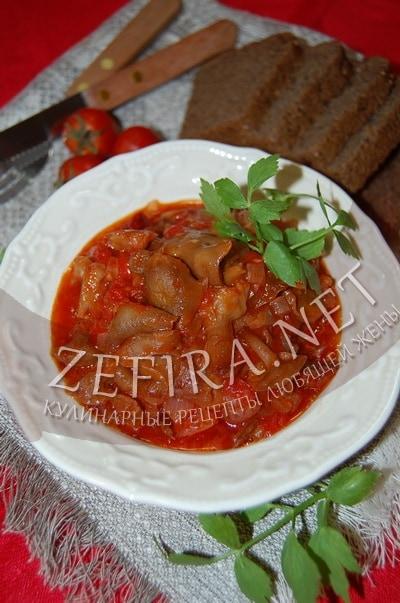 Опята в остром томатном соусе - рецепт и фото