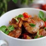 Печень «По-болгарски» с перцем и помидорами
