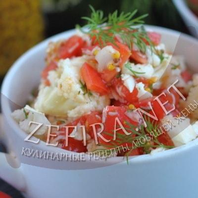 как приготовить салат из сырой цветной капусты