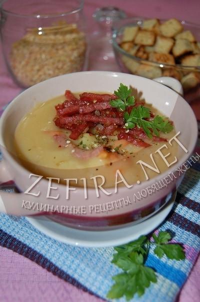 Густой гороховый суп с копченой колбасой - рецепт и фото