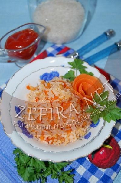 Постный рис с морковью и томатом «По-монастырски» - рецепт и фото