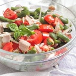 Салат из зеленой стручковой фасоли — рецепт со свининой и помидорами