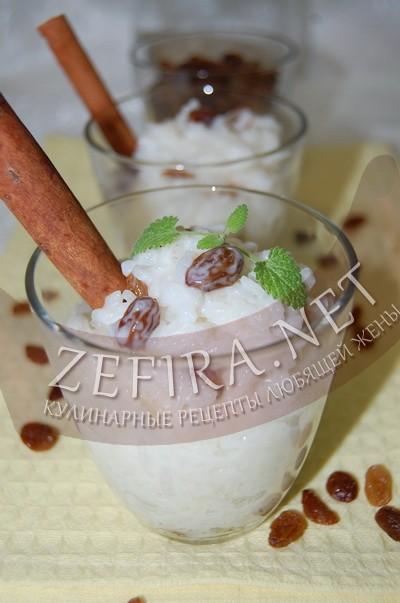 Сладкая рисовая каша с изюмом на молоке - рецепт и фото