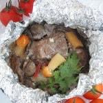 Свинина, запеченная в фольге с грибами «Бомбочки»