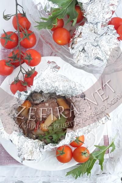 Свинина, запеченная в фольге с грибами «Бомбочки» - рецепт и фото