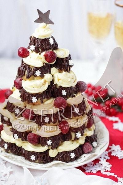 Заварной новогодний торт в виде елочки - рецепт и фото