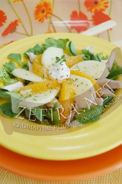 Салат из курицы с апельсином и яблоком - рецепт и фото