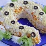 Салат с куриной грудкой и кукурузой «Подкова на счастье»