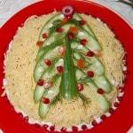 Новогодний слоеный салат с курицей и шампиньонами
