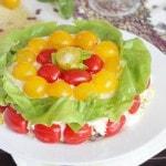 Cлоеный салат с говядиной и помидорами черри
