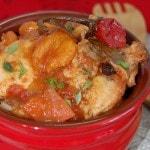 Тушеная курица с курагой и томатами