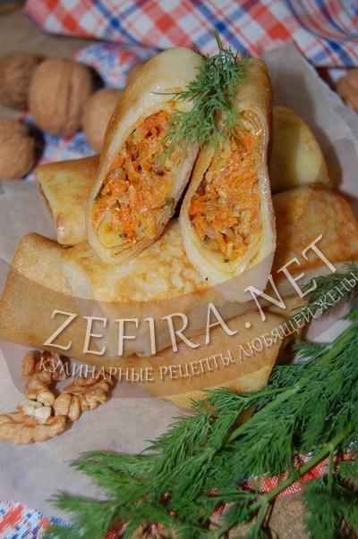 Блинчики с морковью, луком и грецкими орехами - рецепт и фото
