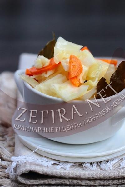 Быстро маринованная капуста с уксусом - рецепт и фото