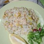 Рис с рыбой и луком