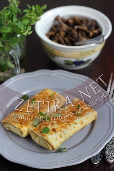 Блины фаршированные гречкой и грибами - рецепт и фото