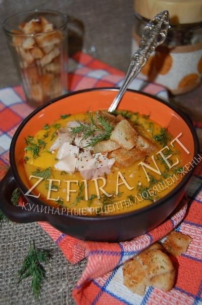 Картофельно-морковный суп-пюре с курицей и сухариками - рецепт и фото