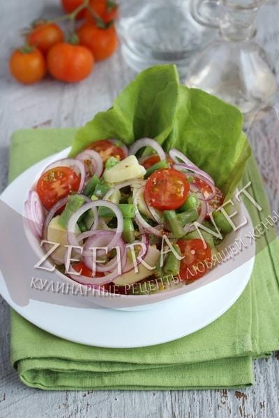 Картофельный салат со стручковой фасолью и помидорами - рецепт и фото
