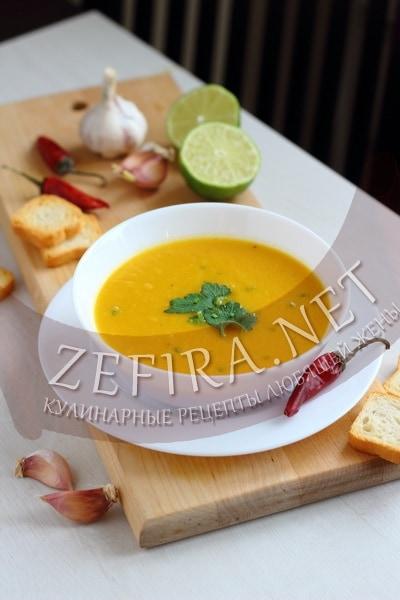 Острый тыквенный суп с имбирем - рецепт и фото