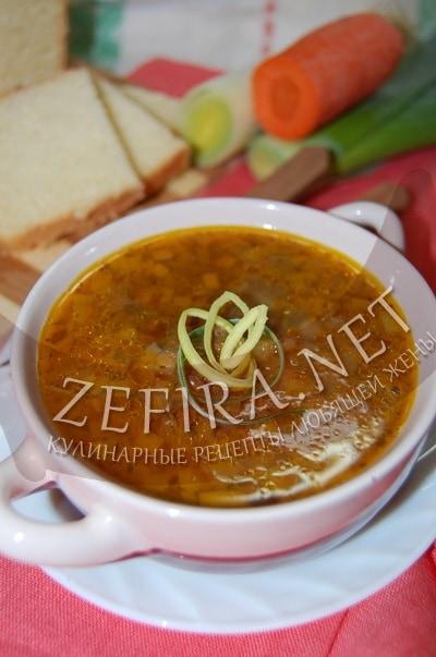 Постный овощной суп с чечевицей - рецепт и фото