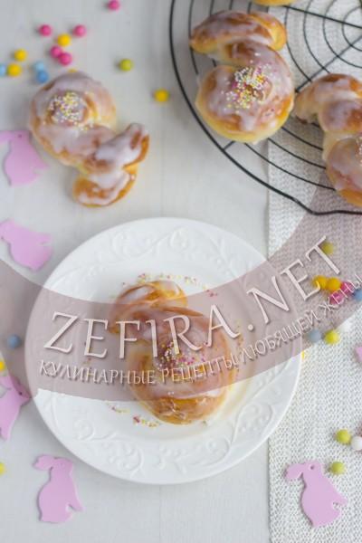 Сладкие булочки зайчики на Пасху - рецепт и пошаговые фото