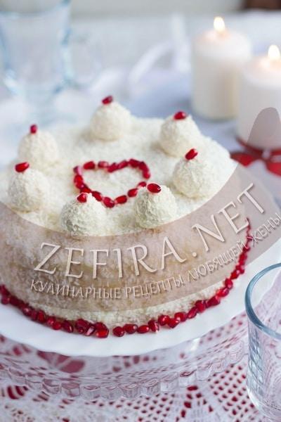Торт «Рафаэлло» с коржами из творога - рецепт и фото