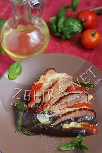 Веер из баклажан с помидорами, сыром и ветчиной в духовке - рецепт и пошаговые фото