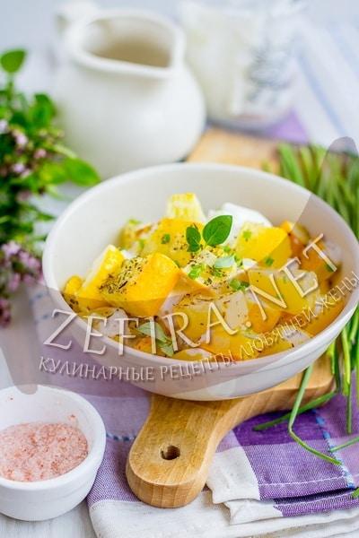 Холодная закуска из печеных кабачков с чесноком и йогуртом - рецепт и фото