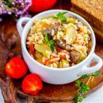 Рис с куриными сердечками  — рецепт с кабачками и помидорами
