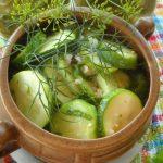 Салат на зиму из кабачков с огурцами, зеленью и чесноком - фото