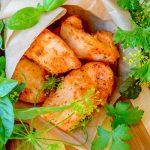 Кусочки филе курицы в яично-томатном маринаде, жаренные на сковороде