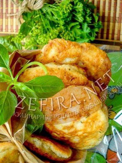 Оладьи с фаршем на кефире или ленивые белыши - рецепт и фото