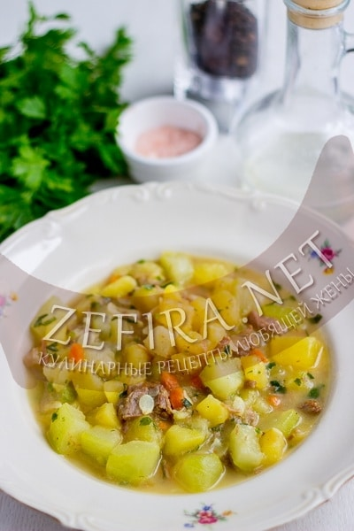 Овощное рагу из кабачков с картошкой и мясом - рецепт и фото
