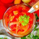 Овощной салат на зиму из помидоров, перца, моркови и лука