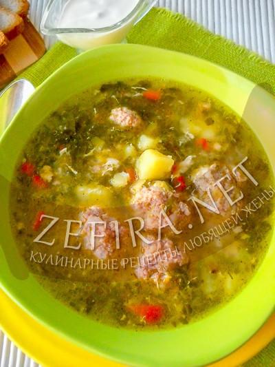 Щавелевый суп с фрикадельками и разбитым яйцом - рецепт и фото