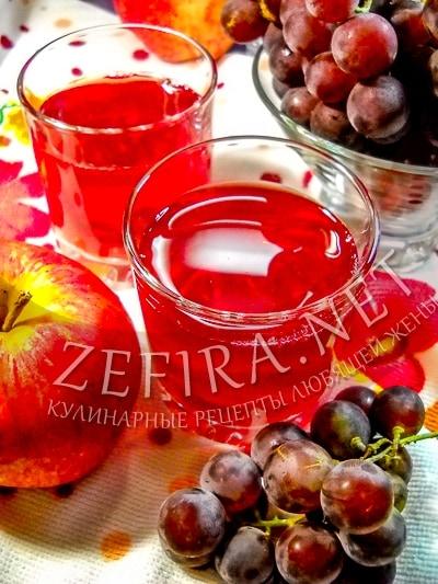 Компот из яблок и винограда на зиму без стерилизации - рецепт и фото