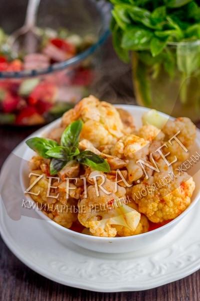 Рагу с цветной капустой и курицей - рецепт и фото