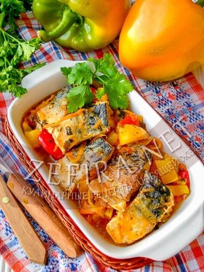Скумбрия тушеная с овощами на сковороде - рецепт и фото