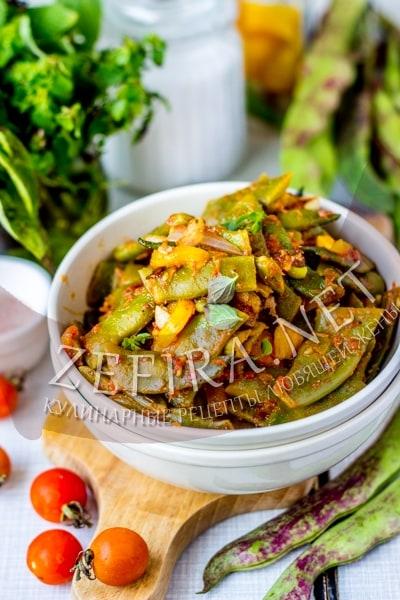 Стручковая фасоль с перцем и помидорами - рецепт и фото