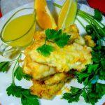 Минтай жареный «Золотистый» с цитрусовым соусом