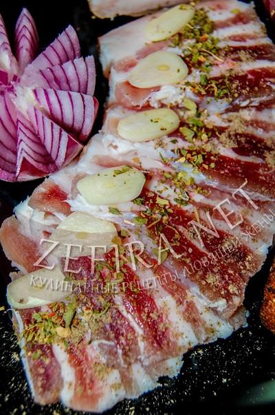 Соленое сало - рецепт в пакете с фото