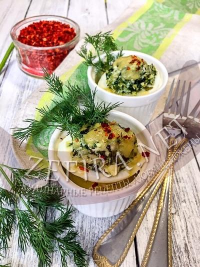 Яйца со шпинатом и сыром