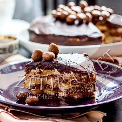 Шоколадный торт без выпечки – рецепт торта с пряниками и бананами