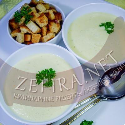 Суп-пюре из кабачков с творогом и молоком